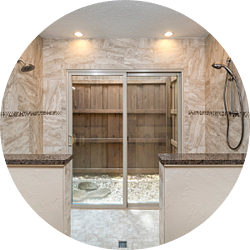 Blending Nature and Architecture Bathroom Remodeling Trend Walk-In Shower Sliding Doors into Outdoor Space