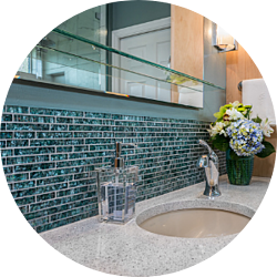 Eclectic Tiles Bathroom Remodeling Trend Blue Textured Flake Tiles Glass Shelving