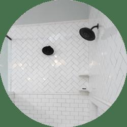 Geometric Designs Bathroom Remodeling Trend Subway Tile Pattern with Black Fixtures