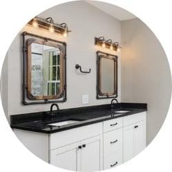 Industrial Bathroom Remodeling Trend Industrial Lighting Fixtures with Custom Industrial Mirror Black Sink Countertop