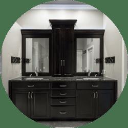 Matte Black Palette Bathroom Remodeling Trend Black Cabinetry with Brushed Silver Metal Fixtures Double Vanity Sinks