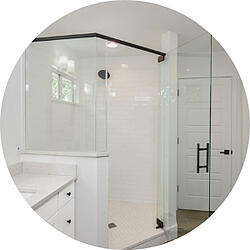 Minimalistic Bathroom Remodeling Trend Glass Shower White Tile with Black Fixtures