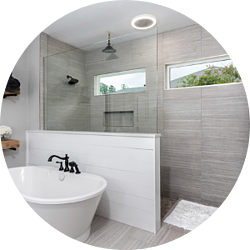 Sustainability Bathroom Remodeling Trend Glass Walk-In Shower with Windows and Standalone Bathtub
