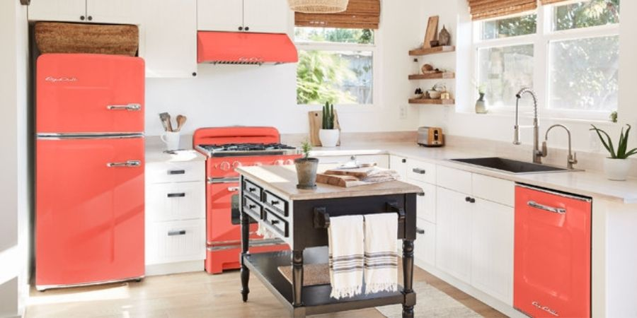 bright red colored kitchen appliances