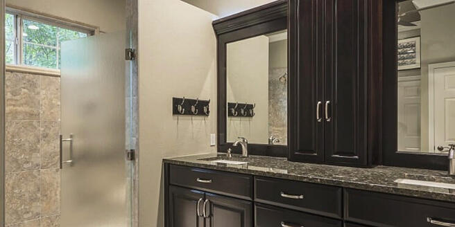 Bathroom remodel with dark cabinets