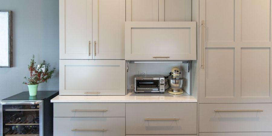 appliance garage in outdated kitchen remodel