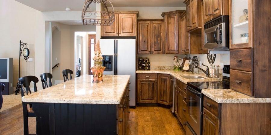 bronze and brass warm toned kitchen