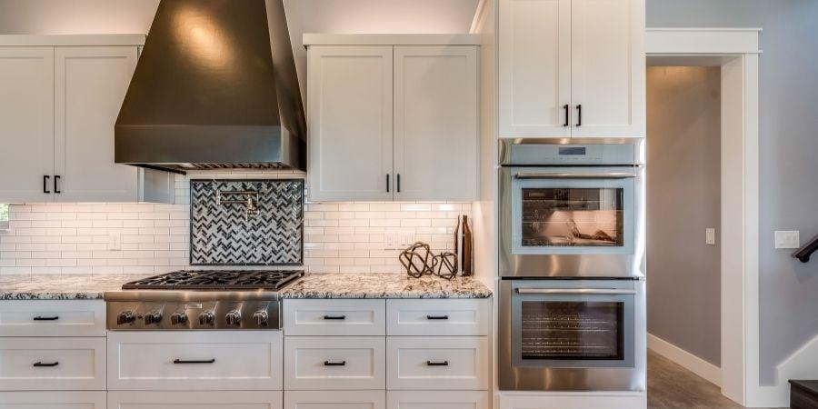 decorative dark gray oven range hood