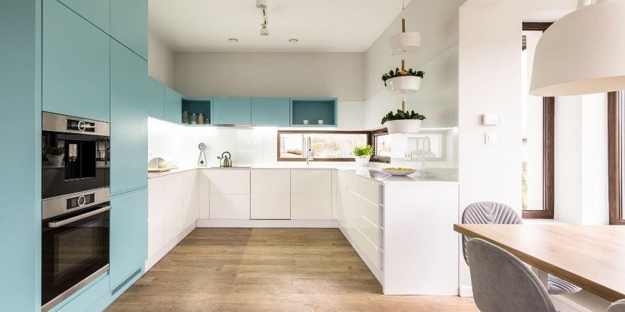 handle less push cabinet doors in two-toned modern scandinavian kitchen