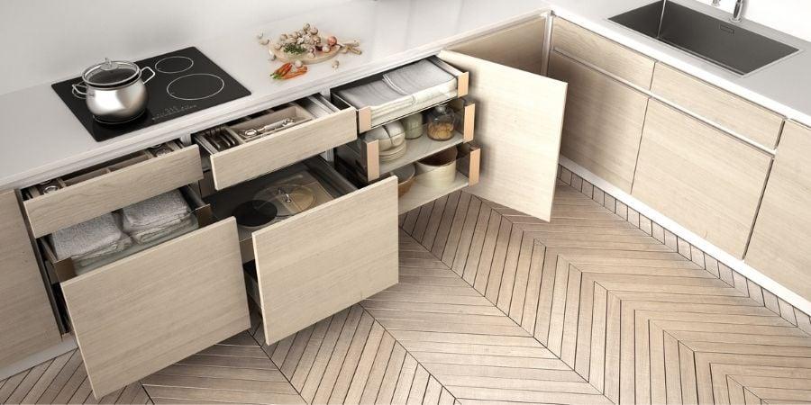 modern contemporary kitchen with plenty of storage