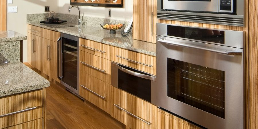 sustainably sourced modern kitchen with recycled materials and bamboo kitchen cabinets