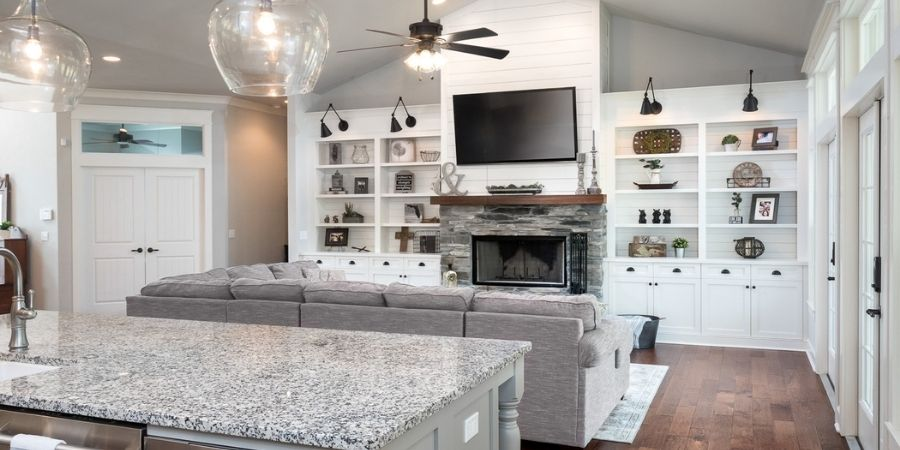 modern kitchen and living room combo gainesville